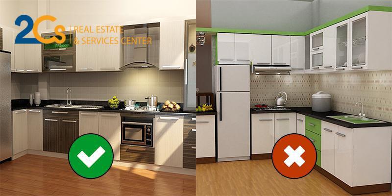 Bếp nấu không đặt cạnh tủ lạnh, vòi nước.