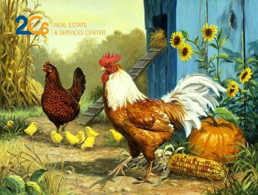 Tranh Con gà mang ý nghĩa trừ khử hung thần