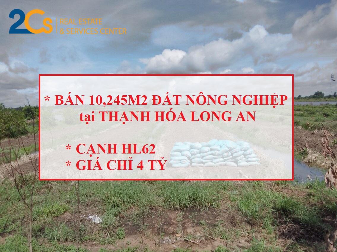 Địa chỉ: xã Tân Tây, Thạnh Hoá, Long An Diện tích: 10.245,6m2 đất nông nghiệp. Giá: 4tỷ (thương lượng)