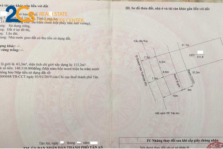 Bán 311,8 m2 đất mặt tiền đường Quách Văn Tuấn, thành phố Tân An, Long An