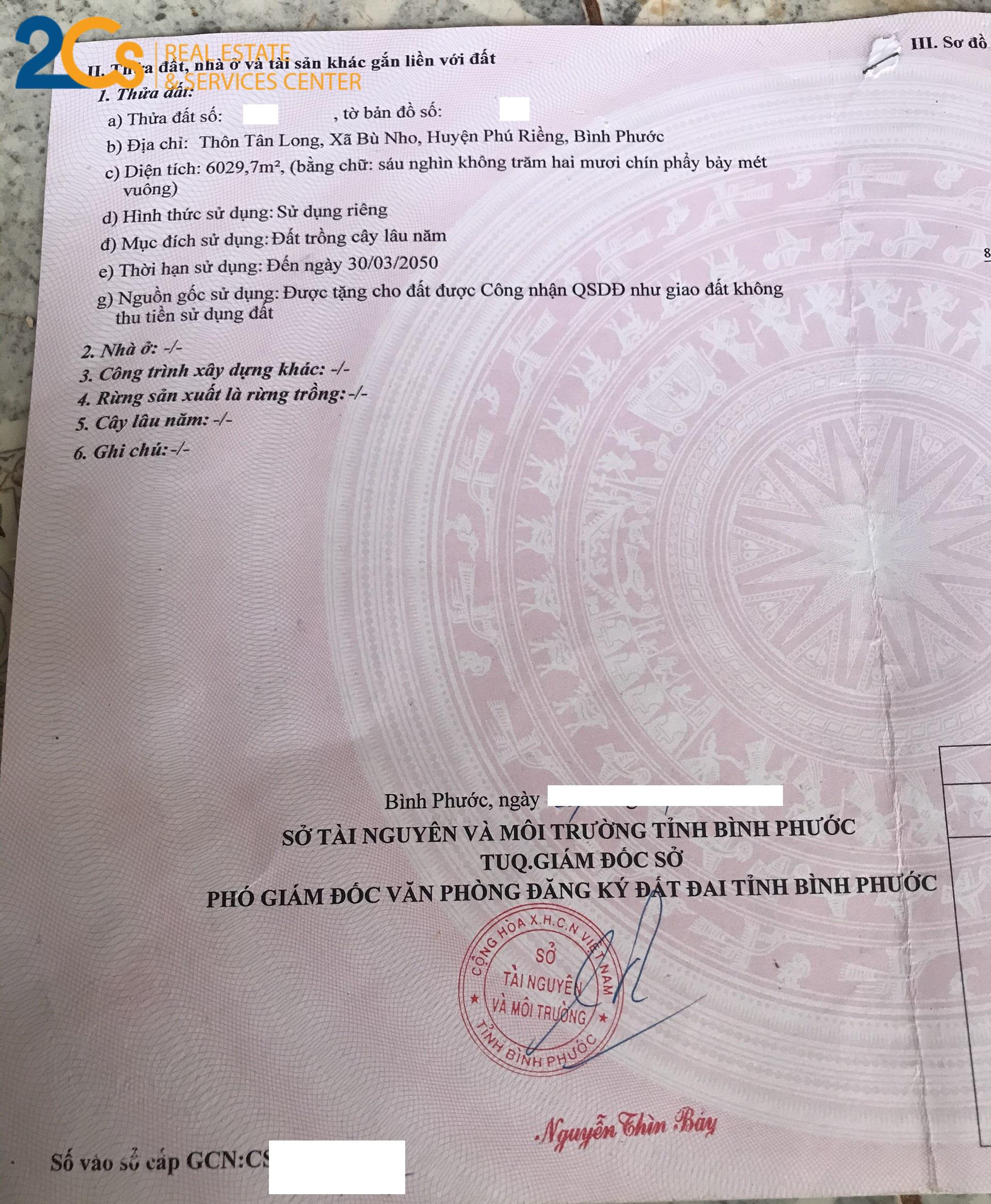 Bán 10 nền tại Phú Riềng, Bình Phước Đc: Thôn Tân Long, Bù Nho, Phú Riềng, Bình Phước