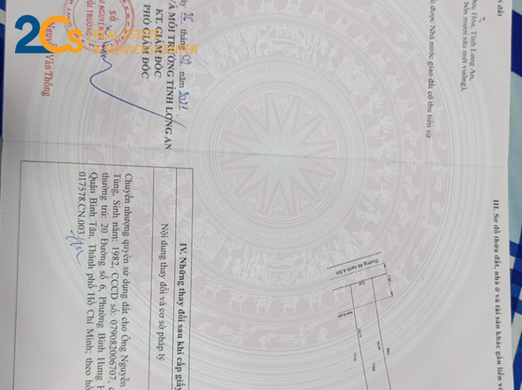 Đc: Đức Hòa Đông, Đức Hòa, Long An - Diện tích: 146 m2 (5 x 29.5 m) - Giá bán 940tr còn thương lượng. Tiền hoa hồng cho người dẫn khách từ 1% - 2%